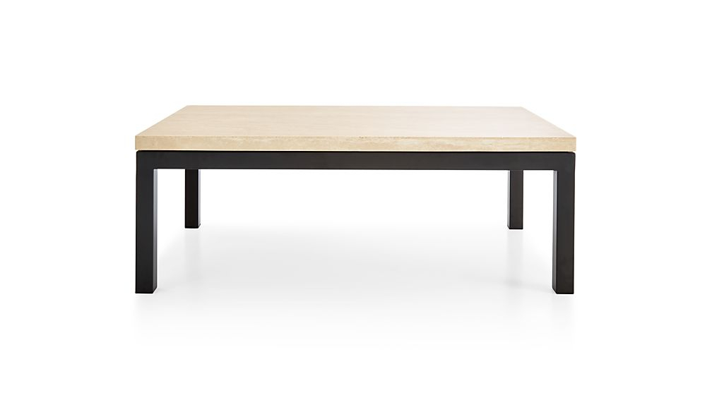 Parsons Travertine Top/ Dark Steel Base 48X28 Small Rectangular For Latest Parsons Travertine Top & Elm Base 48X16 Console Tables (Image 15 of 25)