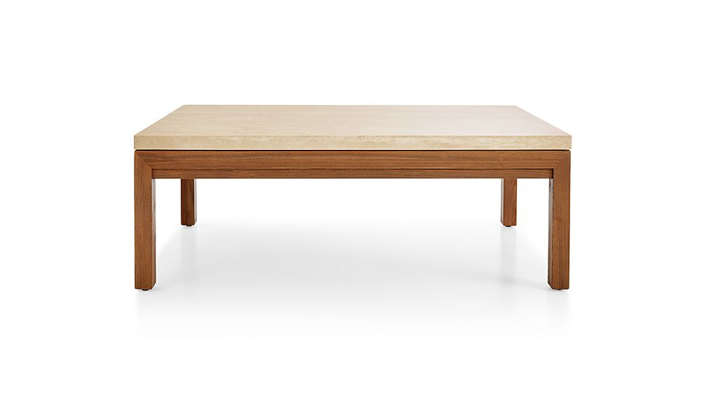 Parsons Travertine Top/ Elm Base 48X28 Small Rectangular Coffee With Famous Parsons Travertine Top & Dark Steel Base 48X16 Console Tables (Image 21 of 25)