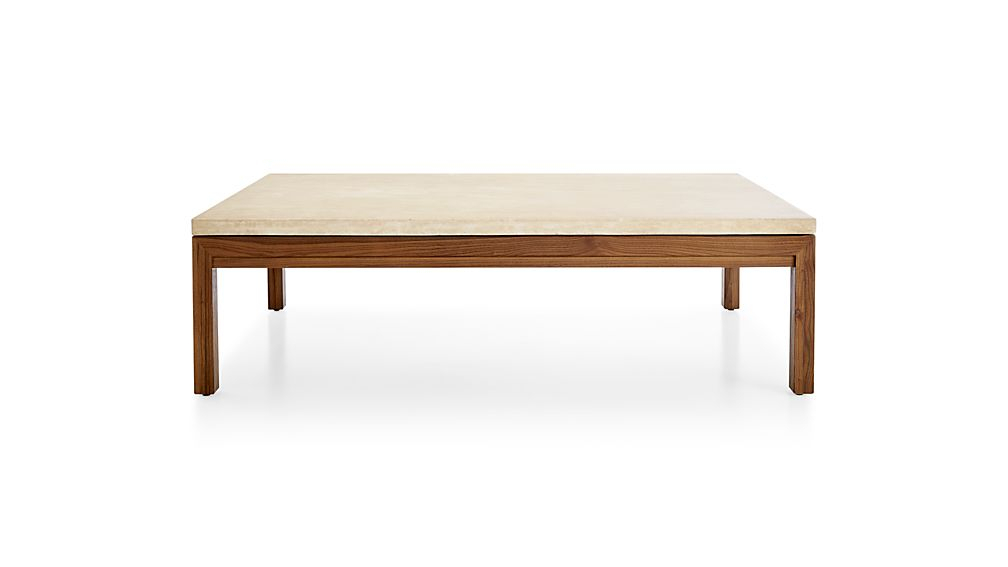Parsons Travertine Top/ Elm Base 60X36 Large Rectangular Coffee Inside Widely Used Parsons Travertine Top & Brass Base 48X16 Console Tables (Image 17 of 25)