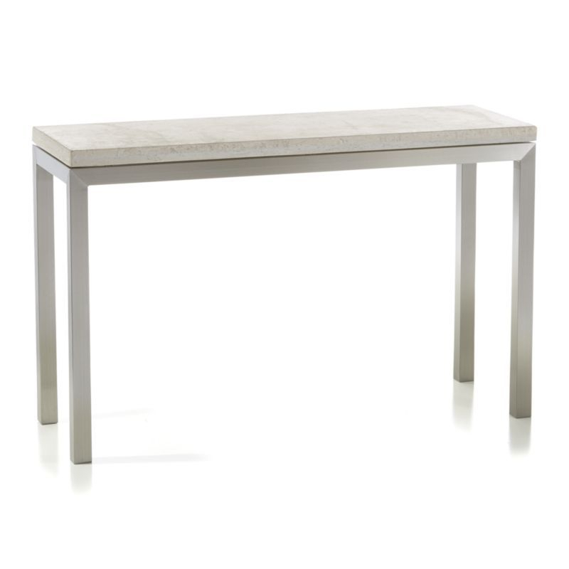 Parsons Travertine Top/ Stainless Steel Base 48X16 Console Intended For Popular Parsons White Marble Top & Stainless Steel Base 48X16 Console Tables (Image 18 of 25)