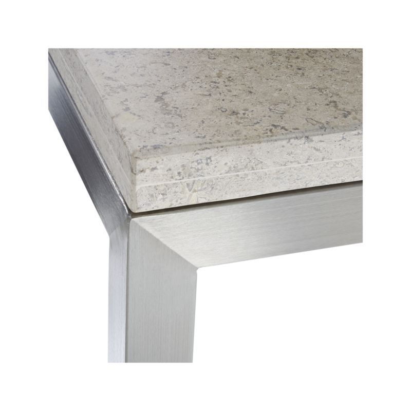 Parsons Travertine Top/ Stainless Steel Base 48X28 Small Rectangular Regarding Famous Parsons Travertine Top & Dark Steel Base 48X16 Console Tables (View 18 of 25)
