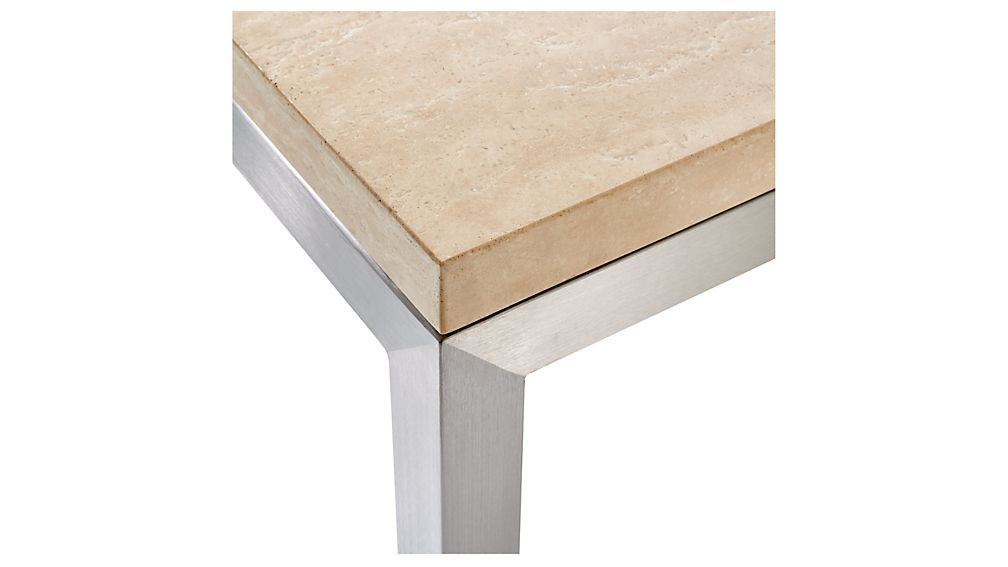 Parsons Travertine Top/ Stainless Steel Base 48X28 Small Rectangular Within Current Parsons Travertine Top & Elm Base 48X16 Console Tables (Image 18 of 25)