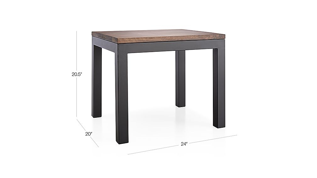 Parsons Walnut Top/ Dark Steel Base 20X24 End Table + Reviews within Well-known Parsons Walnut Top & Elm Base 48X16 Console Tables