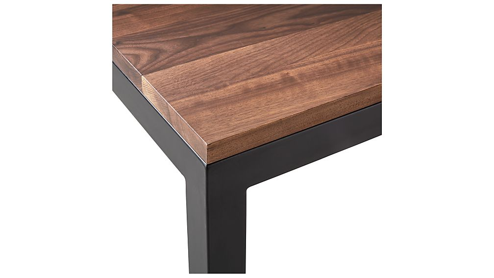 Parsons Walnut Top/ Dark Steel Base 60X36 Large Rectangular Coffee Within Well Liked Parsons Grey Solid Surface Top & Stainless Steel Base 48X16 Console Tables (Image 16 of 25)
