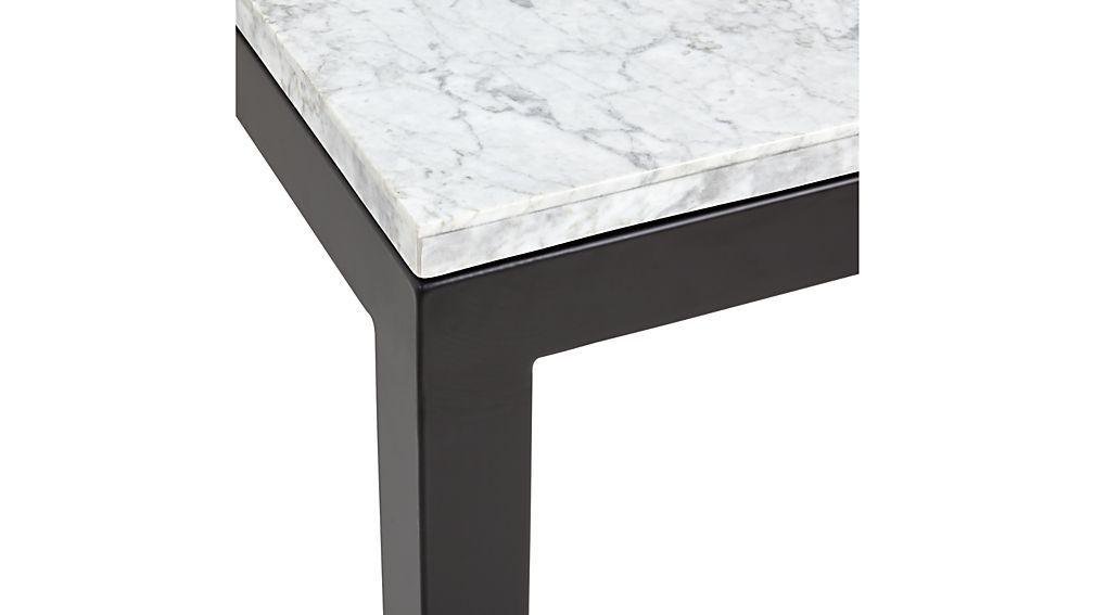Parsons White Marble Top/ Dark Steel Base 48X16 Console (View 1 of 25)