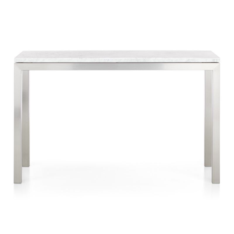 Parsons White Marble Top/ Stainless Steel Base 48X16 Console Intended For Trendy Parsons Clear Glass Top & Stainless Steel Base 48X16 Console Tables (Image 15 of 25)