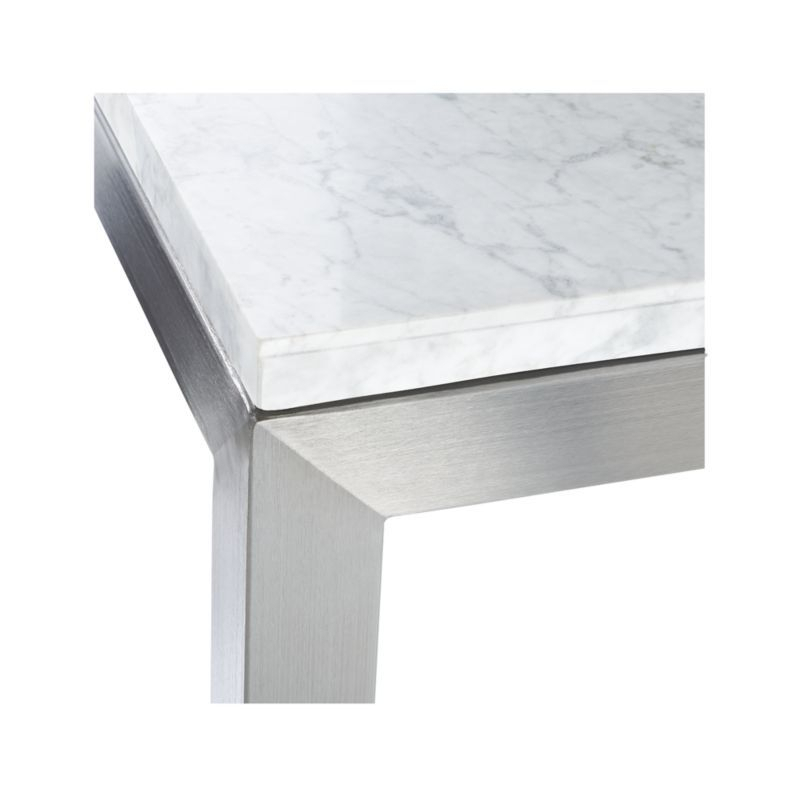 Parsons White Marble Top/ Stainless Steel Base 60X36 Large Within Widely Used Parsons Walnut Top & Dark Steel Base 48X16 Console Tables (Image 16 of 25)