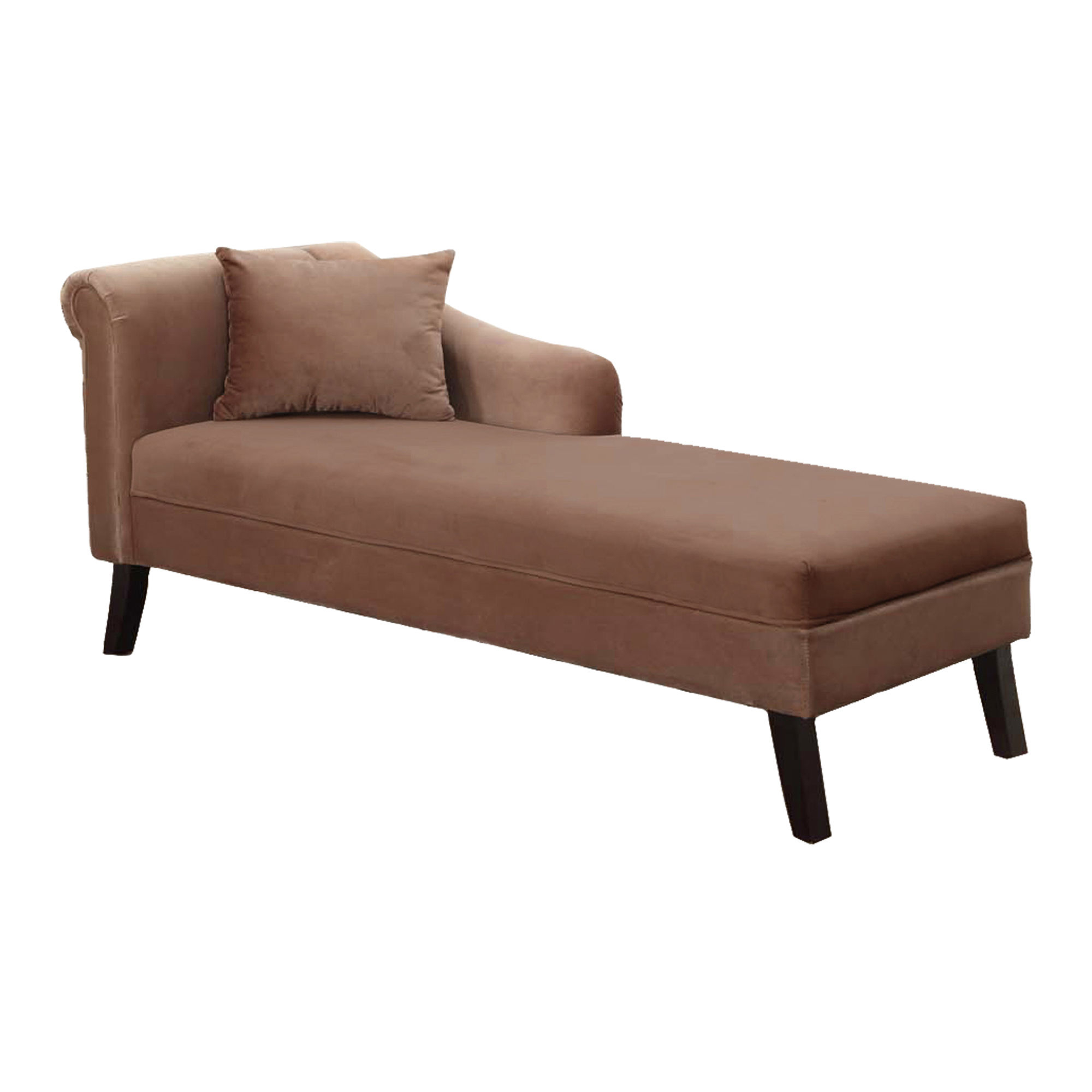 Patterson Brown Velvet One Arm Pillow Back Chaise | The Classy Home intended for Patterson Ii Arm Sofa Chairs