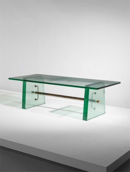 Phillips: Ny050118, Pietro Chiesa for Well-known Phillip Brass Console Tables