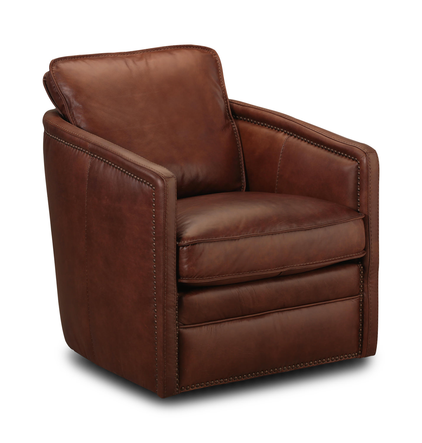 Pivot Leather Swivel Chairthomas Cole | Hom Furniture Regarding Swivel Tobacco Leather Chairs (View 4 of 25)