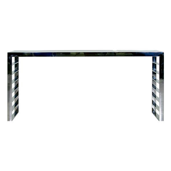 Polished Stainless Steel Frame1/2 Thick Clear Glass Top15Mm Thick Throughout Most Up To Date Parsons White Marble Top & Dark Steel Base 48X16 Console Tables (Image 21 of 25)