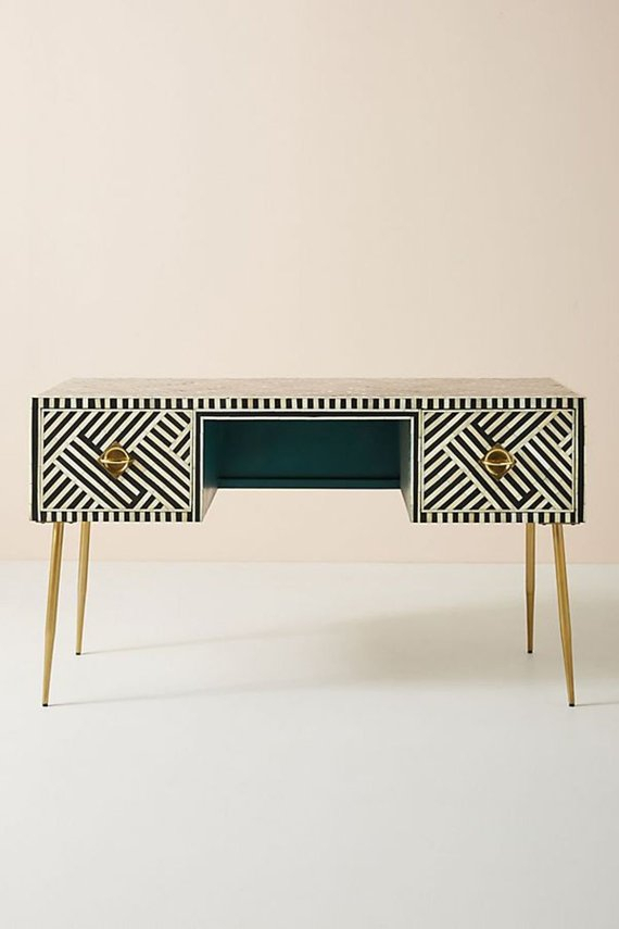 Popular Black And White Inlay Console Tables with regard to Bone Inlay Two Drawers Console Table In Black & White Stripe With