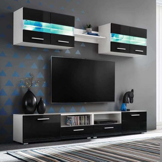 Popular Black Gloss Tv Wall Unit Regarding Tv Wall Unit Set 5 Pieces With Led Lights High Gloss Black In Dublin (View 21 of 25)