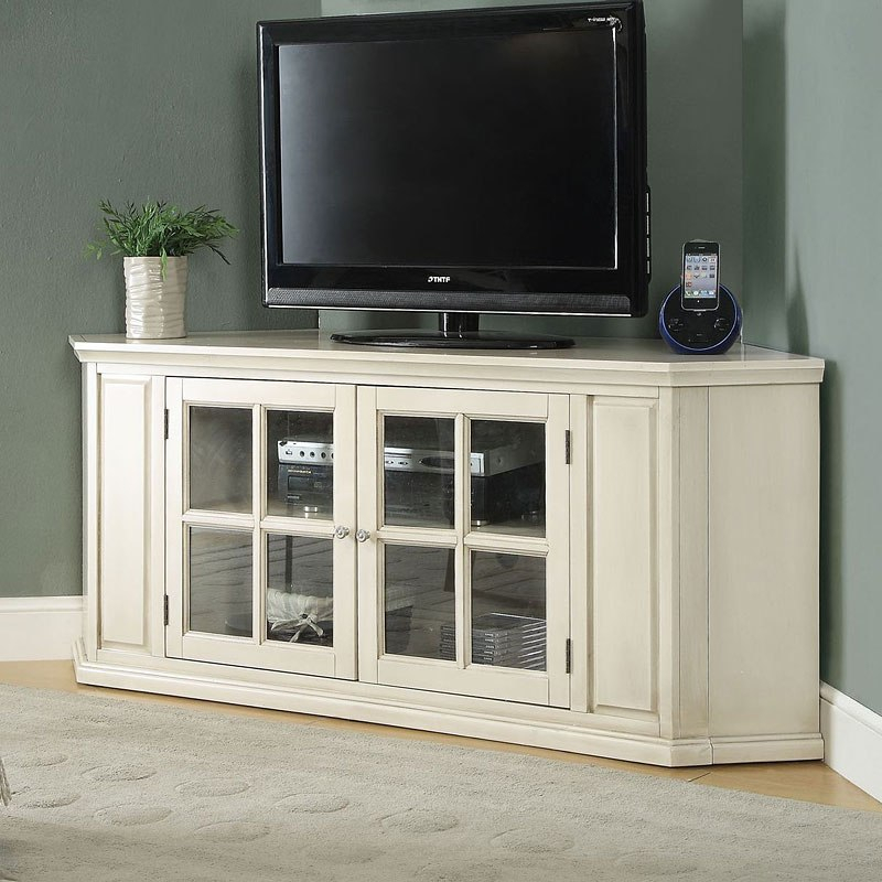 Popular Cornet Tv Stands throughout Malka Corner Tv Stand (Antique White)Acme Furniture