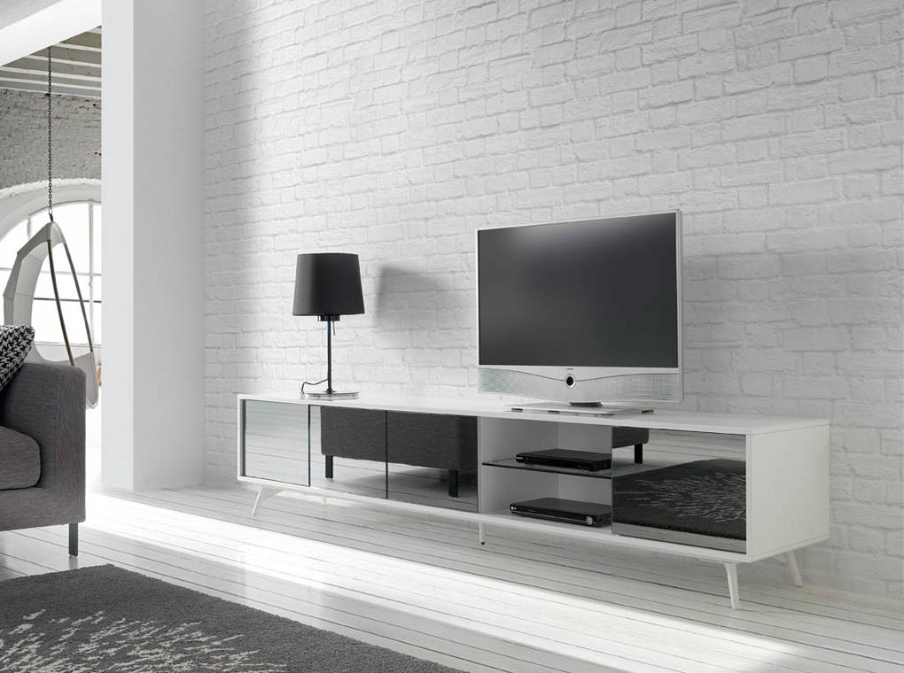 Popular Glass Front Tv Stands Intended For Lacquered Tv Stand With Grey Mirror Glass Front Doors (View 23 of 25)