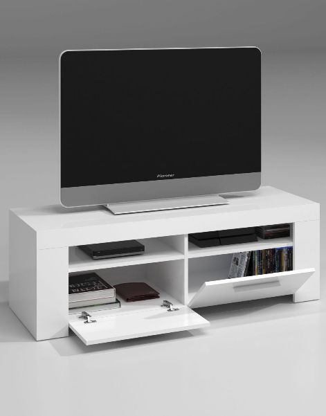Popular Gloss White Tv Cabinets Within Cubo White Gloss Tv Cabinet Entertainment Unit (View 8 of 25)