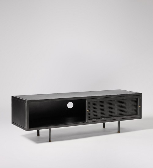 Popular Gunmetal Perforated Brass Media Console Tables Within Sheffield Gunmetal & Brass Media Unit (Image 11 of 16)