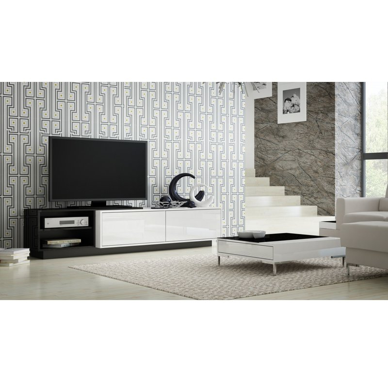 "Popular Maddy 70 Inch Tv Stands Intended For Orren Ellis Tysen High Gloss Tv Stand For Tvs Up To 60"" & Reviews (View 6 of 25)"