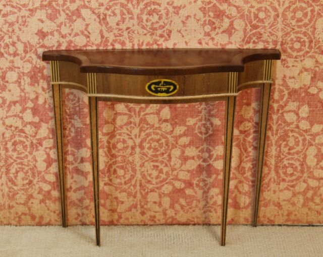 Popular Orange Inlay Console Tables Within Ferd Sobol Demi Lune Console Table W/ Inlay Artisan Dollhouse (View 13 of 25)