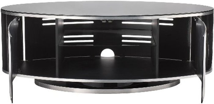 Popular Oval White Tv Stand Intended For Luna High Gloss Black Oval Tv Cabinet (Image 14 of 25)