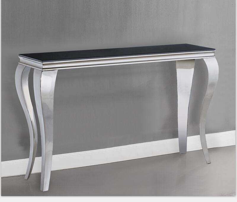 Popular Parsons Clear Glass Top & Dark Steel Base 48X16 Console Tables For Stainless Steel Console Table – Fibroidsgrow (Image 23 of 25)