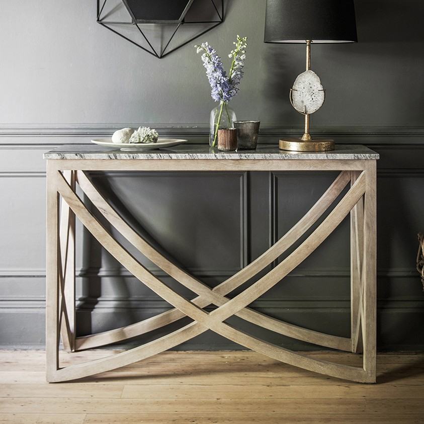 Popular Parsons Grey Marble Top & Dark Steel Base 48X16 Console Tables throughout Marble Top Sofa Table