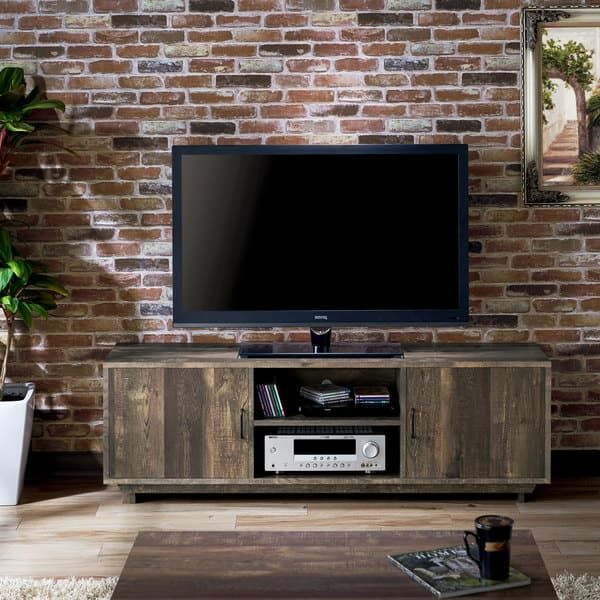 Popular Sinclair Grey 74 Inch Tv Stands Pertaining To Furniture Of America Mailer Rustic Reclaimed Oak (Brown) 63 Inch Tv (Image 19 of 25)