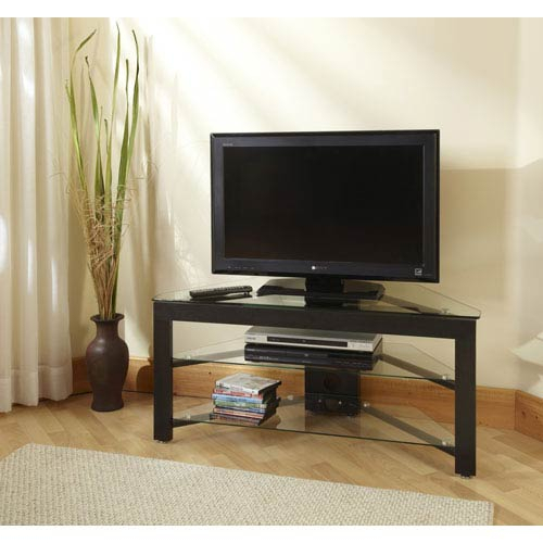 Popular Small Corner Tv Stands Pertaining To Convenience Concepts Black Wood Grain And Glass Corner Tv Stand Tv (Image 14 of 25)