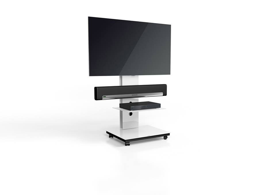 Popular Sonos Tv Stands inside Spectral Tray Px601Sx White Gloss Glass 1 Shelf Tv Stand W/ Adapter