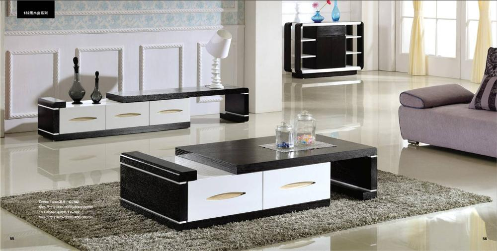 Popular Tv Stand Coffee Table Sets with Modern Balck Wood Furniture Tea Coffee Table Tv Cabinet Set, Smart