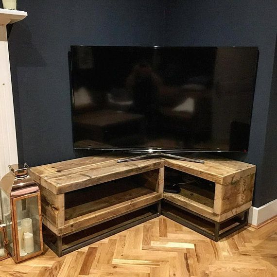 Popular Tv Stands For Corner with regard to Industrial Chic Reclaimed Corner Tv Unit Stand Media Unit - Steel