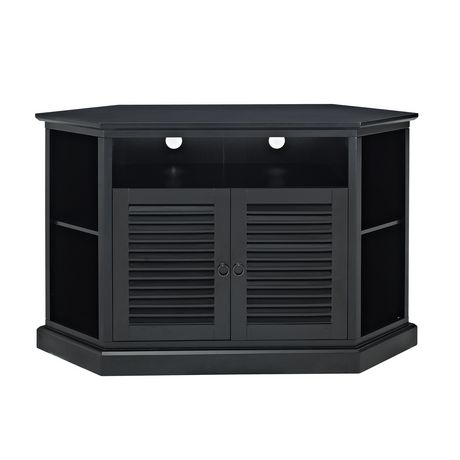 Popular Wooden Corner Tv Stands Pertaining To We Furniture Black Wood Corner Tv Stand With Louvered Doors (Image 16 of 25)