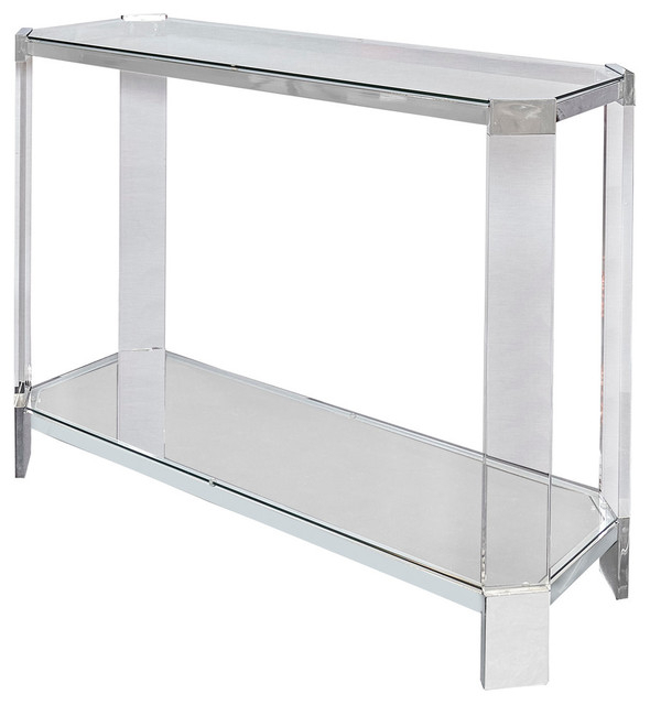 Powell Brahm Console Table, Chrome Metal – Contemporary – Console Pertaining To Best And Newest Parsons Clear Glass Top & Stainless Steel Base 48X16 Console Tables (Image 16 of 25)