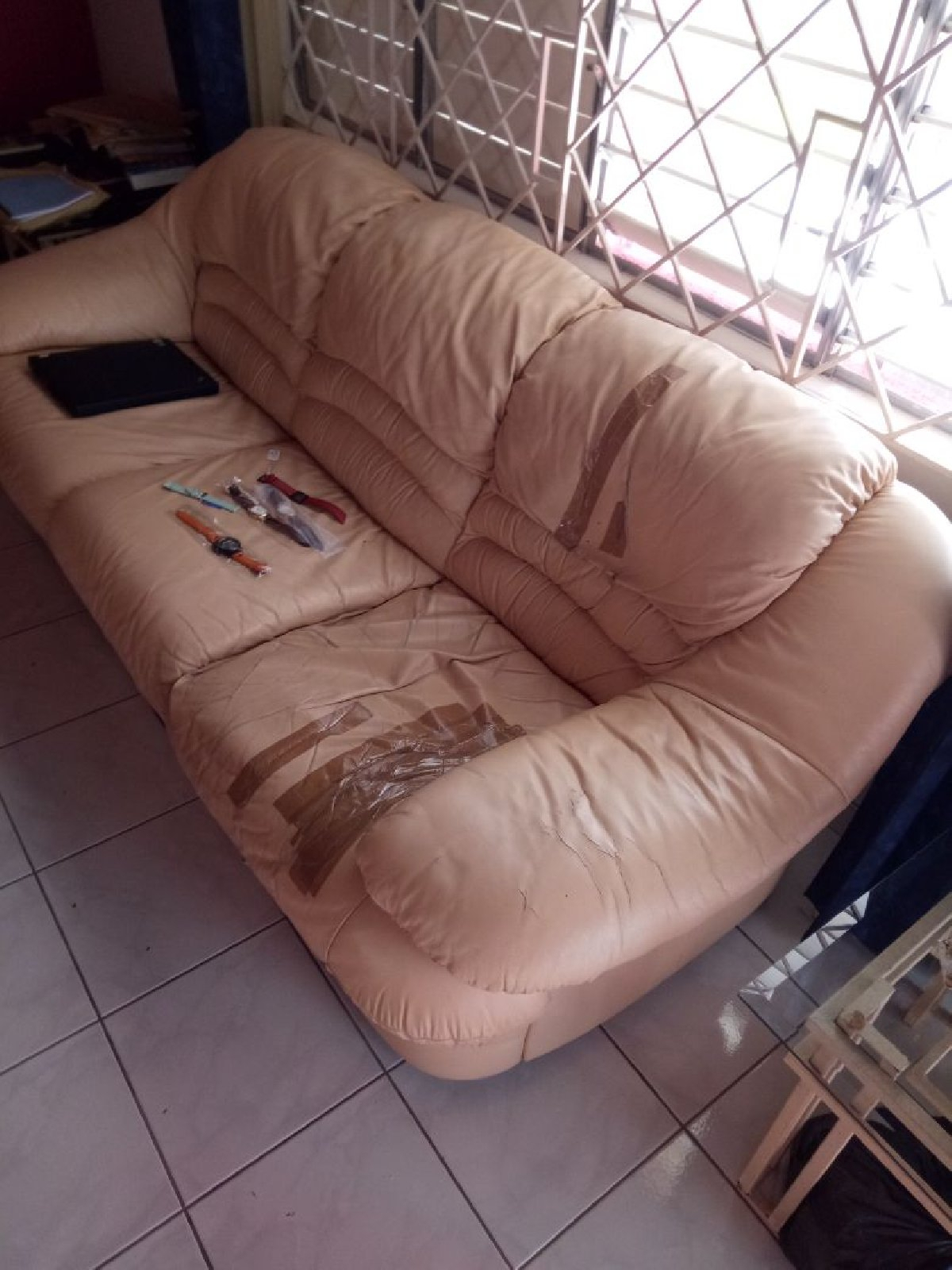 Pre Owned 3 Leather Sofa Set For Sale In Orange Groove Kingston St Inside Andrew Leather Sofa Chairs (View 16 of 25)