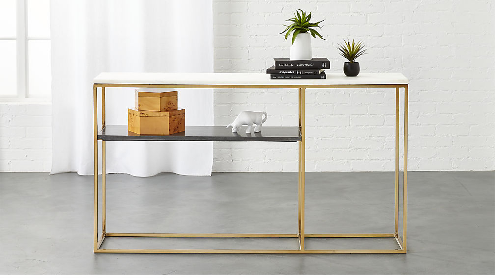 Preferred Elke Marble Console Tables With Brass Base In Marble Console Table With 2 Tone Grey And White Reviews Cb (Image 22 of 25)