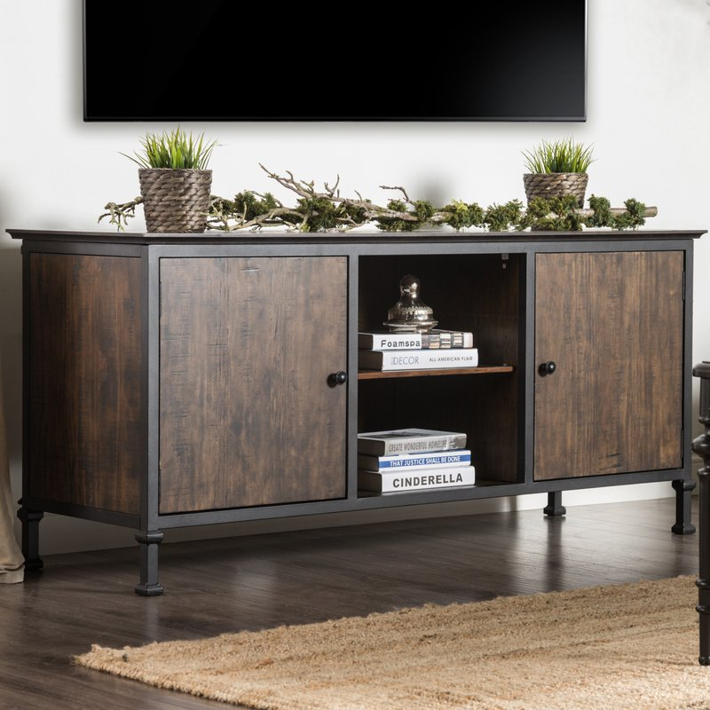 """Preferred Gunmetal Perforated Brass Media Console Tables For Berinda Transitional Tv Stand For Tvs Up To 60"""" & Reviews (View 15 of 16)"""