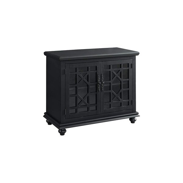 Preferred Maddy 60 Inch Tv Stands Within Shop Wooden Tv Stand With Trellis Detailed Doors, Antique Black (View 7 of 25)