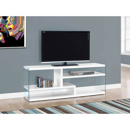 Preferred Noah 75 Inch Tv Stands Regarding Hawthorne Ave Tv Stand 60L / Glossy White With Tempered Glass I (View 7 of 25)