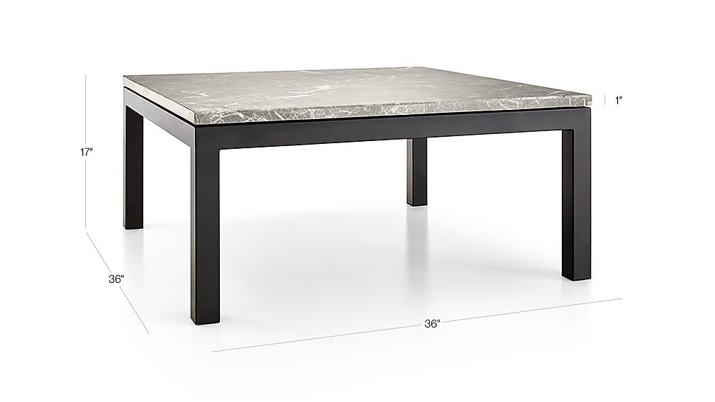 Preferred Parsons White Marble Top & Brass Base 48X16 Console Tables Pertaining To Parsons Grey Marble Top/ Dark Steel Base 36X36 Square Coffee Table (Image 22 of 25)