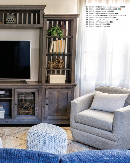 Preferred Sinclair Grey 68 Inch Tv Stands Regarding Living Spaces – Fall 2017 – Sinclair Grey 4 Piece Entertainment Center (View 17 of 25)
