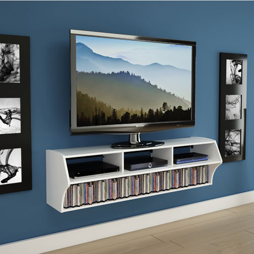 "Prepac Altus Plus 60"" Floating Tv Stand – White : Tv Mounts – Best Within Current Valencia 60 Inch Tv Stands (View 19 of 25)"