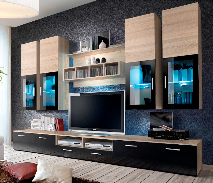 Presto 3 – Oak Sonoma Matt And Black Gloss Tv Wall Unit Pertaining To Favorite Black Gloss Tv Wall Unit (Image 17 of 25)