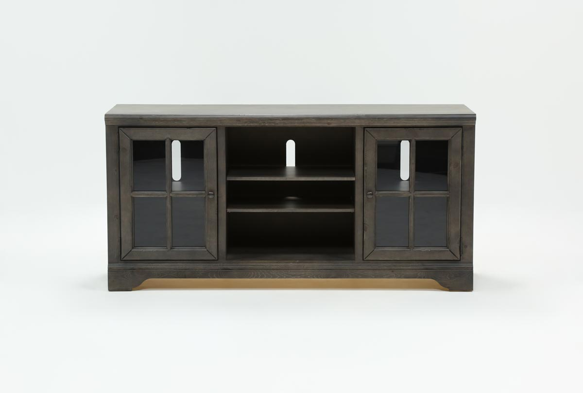 Preston 66 Inch Tv Stand   Living Spaces Throughout Moana Taupe Leather Power Reclining Sofa Chairs With Usb (Image 22 of 25)