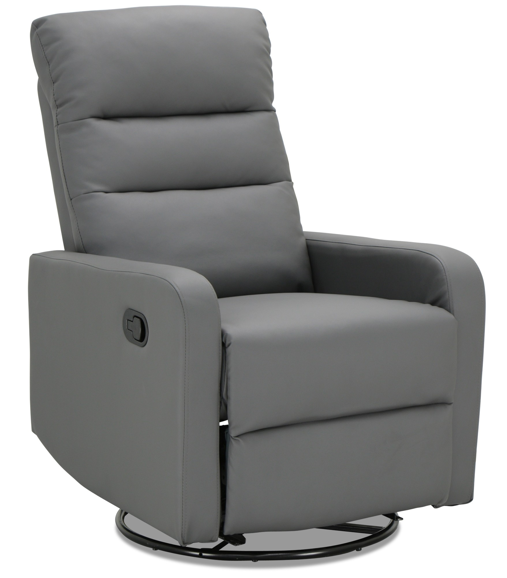 Rasco Recliner With Swivel In Pu Dark Grey | Furniture & Home Décor Within Dark Grey Swivel Chairs (View 13 of 25)