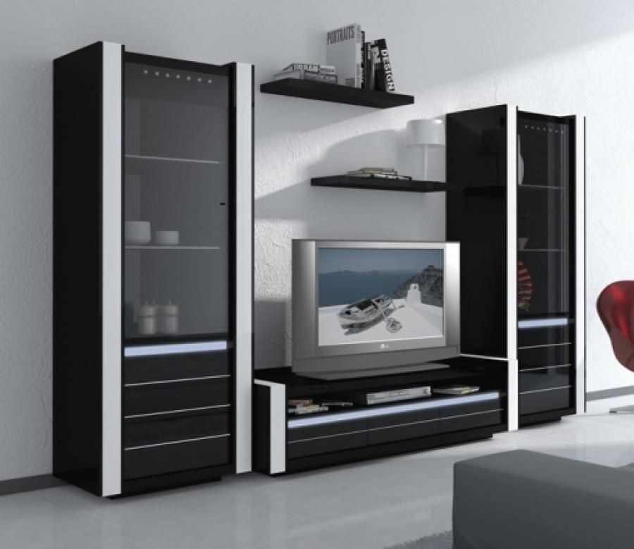 Recent Black Gloss Tv Wall Unit Inside Avantgarde, Black Gloss Tv Wall Unit With Integral Light (Image 18 of 25)