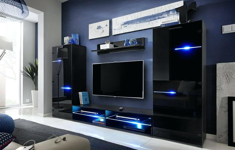 Recent Black Gloss Tv Wall Unit With 70 Inch Tv Entertainment Center Modern Wall Unit With Led Lights (Image 19 of 25)