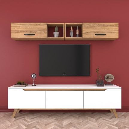 Recent Ducar 64 Inch Tv Stands Intended For Rani D1 Duvar Raflı Kitaplıklı Mdf Tv Ünitesi Duvara Monte Fiyatı (Image 16 of 25)