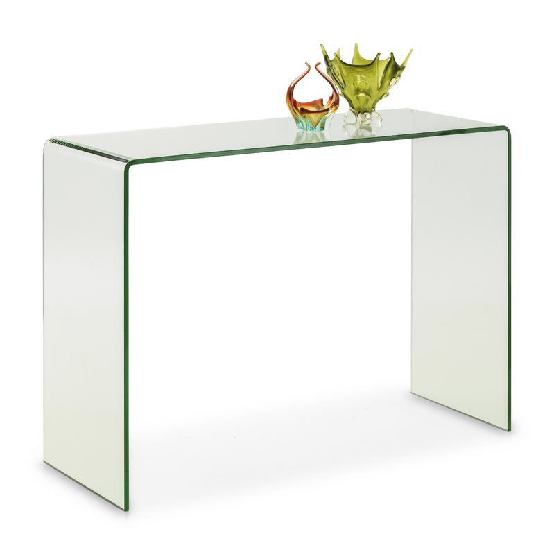Recent Elke Glass Console Tables With Brass Base Inside Attractive Glass Console Table In Bent With Shelf Mfkto (Image 20 of 25)