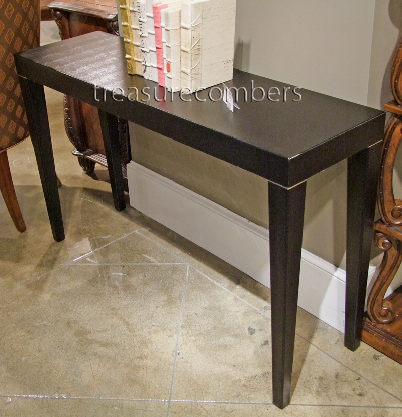 Recent Faux Shagreen Console Tables Inside Paris Metro Black Faux Shagreen Leather Console Table (View 19 of 25)