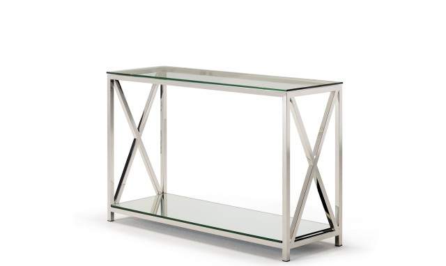 Recent Frame Console Tables With Lucia – Console Table With Glass Top & Stainless Steel Frame (View 5 of 25)
